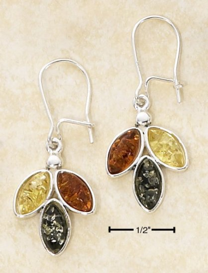 STERLING SILVER- MULTI COLOR AMBER DROP EARRINGS