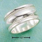 STERLING SILVER- HIGH POLISH BAND W/ BEADED EDGES