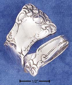 STERLING SILVER HIGH POLISH & SCROLLED SPOON RING
