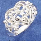 STERLING SILVER FILIGREE SCROLLED HEART RING **FREE SHIPPING ITEM**
