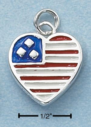 "STERLING SILVER ENAMEL 2 SIDED HEART SHAPE RED WHITE AND BLUE FLAG CHARM ""*FREE SHIPPING ITEM**"