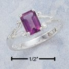 STERLING SILVER EMERALD CUT AFRICA AMETHYST RING