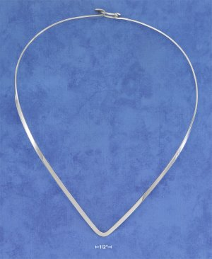 """STERLING SILVER 16 INCH FLAT """"V"""" COLLAR WITH HOOK CLOSURE NECKLACE **FREE SHIPPING**"""