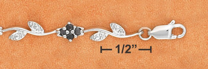 STERLING SILVER BLACK SAPPHIRE CLUSTER & DIAMOND ACCENT LEAF BRACELET **FREE SHIPPING**