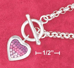 STERLING SILVER- ROLO BRACELET WITH PINK CZ HEART TOGGLE **FREE SHIPPING ITEM**