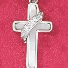 STERLING SILVER- MOTHER OF PEARL CROSS PENDANT WITH CZ BANNER