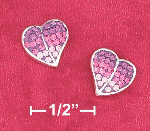 STERLING SILVER- PINK CZ HEART POST EARRINGS