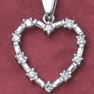 STERLING SILVER HEART PENDANT WITH ROUND &  BAGUETTE CZS