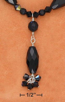 """STERLING SILVER""""Y"""" 16 INCH NECKLACE WITH FACETED ONYX BEADS & BLACK ARORA BOREALIS"""