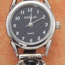 STERLING SILVER WOMENS ONYX WATCH W/ BLACK FACE **FREE SHIPPING**