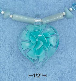 STERLING SILVER AMAZONITE TUBE & CHIP NECKLACE WITH CUPRITE ACCENT AND GLASS BEAD FLOWER