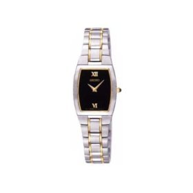 SEIKO LADIES BLACK DIAL WATCH W/ TWO TONE BRACELET **FREE SHIPPING**