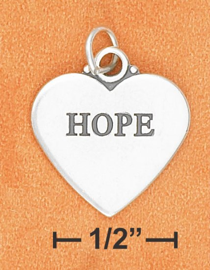 """STERLING SILVER FLAT HIGH POLSIH """"HOPE"""" HEART CHARM W/ ANTIQUE LETTERING (2 SIDED)"""