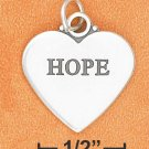 "STERLING SILVER FLAT HIGH POLSIH ""HOPE"" HEART CHARM W/ ANTIQUE LETTERING (2 SIDED)"