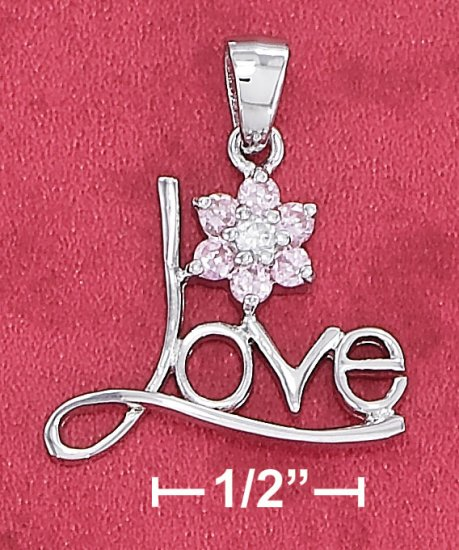 """STERLING SILVER """"LOVE""""  PENDANT WITH PINK CZ FLOWER  **FREE SHIPPING**"""