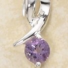 STERLING SILVER DESIGNER RIBBON W/ ROUND AMETHYST STONE PENDANT