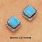 STERLING SILVER DIAMOND SHAPED TURQUOISE POST EARRINGS  **FREE SHIPPING**