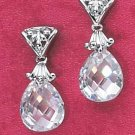 STERLING SILVER PEAR SHAPED CUBIC ZIRCONIA BRIOLETTE POST DANGLE EARRINGS