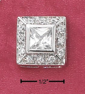 STERLING SILVER CLEAR PRINCESS CUT SQUARE CZ WITH PAVE CZ BORDER POST EARRINGS