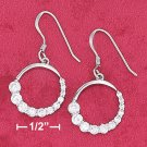 STERLING SILVER- OPEN CIRCLE CZ DANGLE EARRINGS