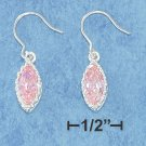 STERLING SILVER- PINK MARQUISE CZ DANGLE FRENCH WIRE EARRINGS WITH CROWN BORDER