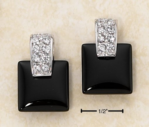 STERLING SILVER SQUARE ONYX POST EARRINGS W/ CZ CHIPS