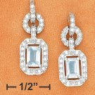 STERLING SILVER FANCY CZ POST DANGLE EARRINGS WITH EMERALD CUT BLUE TOPAZ