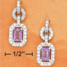 STERLING SILVER- FANCY CZ POST DANGLE EARRINGS WITH EMERALD CUT AMETHYSTS