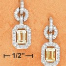 STERLING SILVER FANCY CZ POST DANGLE EARRINGS WITH EMERALD CUT CITRINE