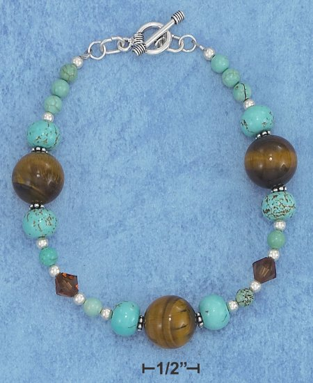 STERLING SILVER  TOGGLE BRACELET WITH TURQUOISE AND TIGER EYE BEADS