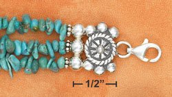 STERLING SILVER ADJUSTABLE THREE STRAND TURQUOISE  CHIP NUGGETS BRACELET **FREE SHIPPING**