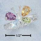 STERLING SILVER MULTIPLE STONE BUTTERFLY RING **FREE SHIPPING**
