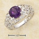 STERLING SILVER- ROUND AMETHYST OPEN SCROLL RING