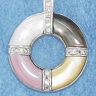 STERLING SILVER MOTHER OF PEARL CIRCLE PENDANT W/ CHANNEL SET CZ