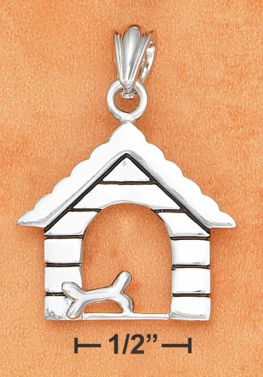 STERLING SILVER DOG HOUSE WITH DOG BONE PENDANT  **FREE SHIPPING**