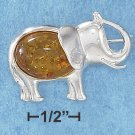 STERLING SILVER OVAL AMBER BODIED HIGH POLISH  ELEPHANT PIN  **FREE SHIPPING**
