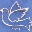 STERLING SILVER  OPEN DESIGN PEACE DOVE PIN  **FREE SHIPPING**