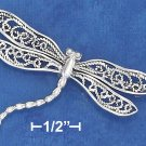 STERLING SILVER 33X50MM DRAGONFLY WITH FILIGREE WINGS & CURVED BODY PIN  **FREE SHIPPING**