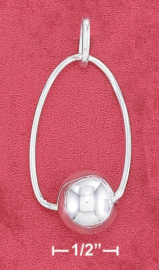 STERLING SILVER TWISTED WIRE OVAL PENDANT WITH  AT BOTTOM