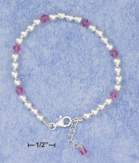 "STERLING SILVER 6""-7"" ADJ PINK CRYSTAL &  BEAD CHILDS BRACELET W/  DANGLE  **FREE SHIPPING**"