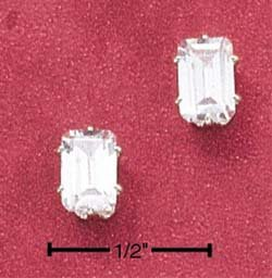 STERLING SILVER RECTANGULAR CUBIC ZIRCONIA POST EARRINGS **FREE SHIPPING**