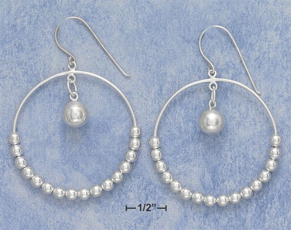 STERLING SILVER TUBE EARRINGS W/ 16 BEADS ON FRENCH WIRE **FREE SHIPPING**