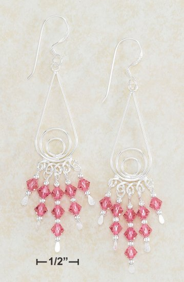 STERLING SILVER TEARDROP EARRINGS W/ SWAROVSKI PINK CRYSTAL