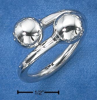 STERLING SILVER WOMENS HEAVY BYPASS RING W/  LARGE BEADS **FREE SHIPPING**