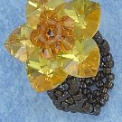 YELLOW SWAROVSKI CRYSTAL FLOWER ON BLACK BEADS RING