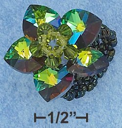 GREEN COLOR SWAROVSKI CRYSTAL FLOWER ON GREEN BEADS RING