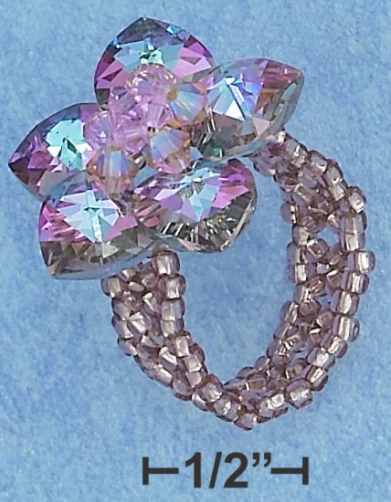LILAC COLOR SWAROVSKI CRYSTAL FLOWER ON LILAC BEADS RING