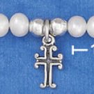 "STERLING SILVER 5"" FWP BRACELET W/ 4MM SILVER BEADS & CROSS DANGLE"