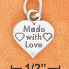 "STERLING SILVER FLAT 12MM ""MADE WITH LOVE"" HEART CHARM"