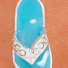 STERLING SILVER SEA GREEN ENAMEL 20MM SANDAL CHARM W/ CLEAR CRYSTAL STRAP